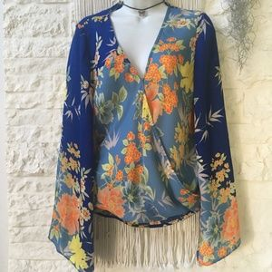 Guess Semi-Sheer Boho Print Blouse